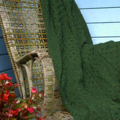 Green aran wool blanket