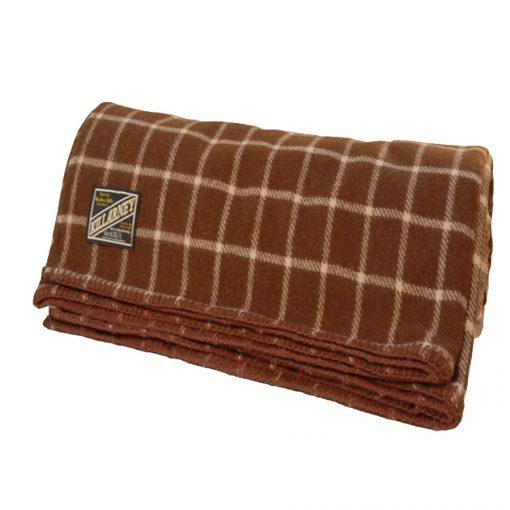Killarney wool blanket brown barcheck pattern