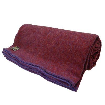Heavy weight wool blanket Rich Damson