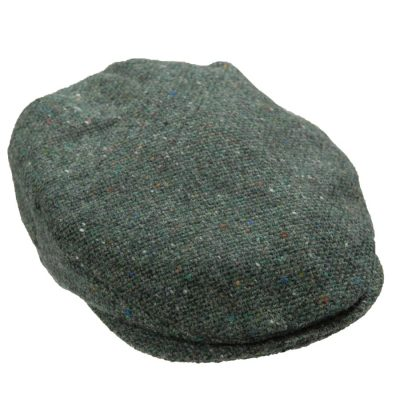 Donegal tweed woven flat cap in Green Fleck
