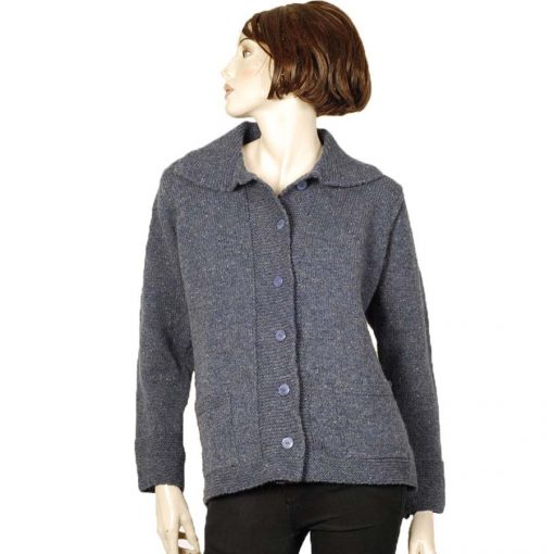 Single breasted wool cardigan on model
