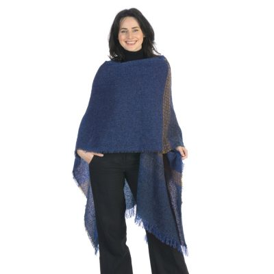 celtic wool ruana shawl in cobalt