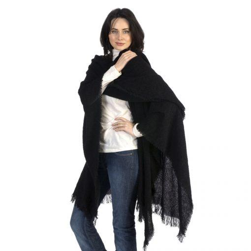 celtic wool ruana cape in classic black