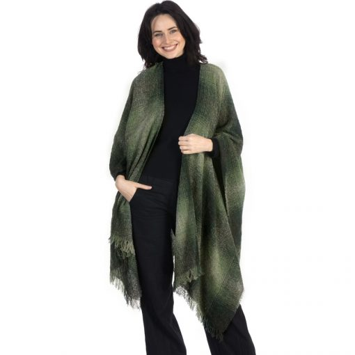 celtic wool ruana cape in Moss green check 90A