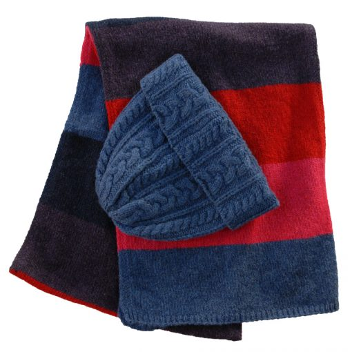 merino wool denim hat and matching Chameleon scarf .