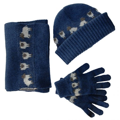 merino lambswool hat scarf and gloves set in clean denim colour with cute sheep motif