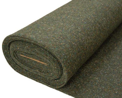 Roll of Green fleck tweed fabric