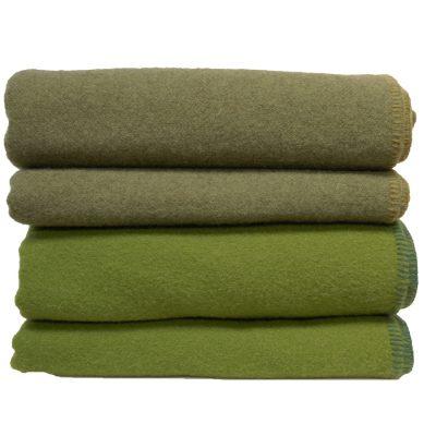 Green wool blanket stack