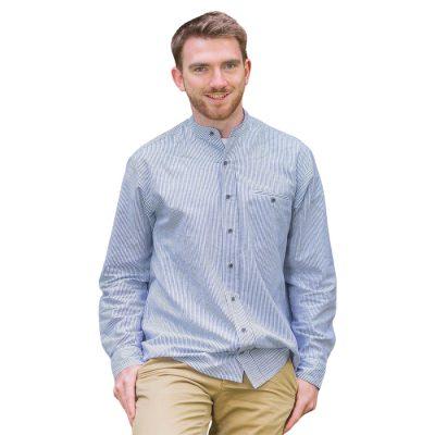 Irish Collarless Linen Grandad Shirt LN8 blue white stripes