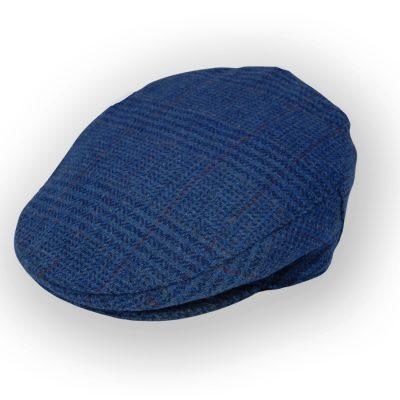 Irish Tweed cap Blue Plaid 2418R -L