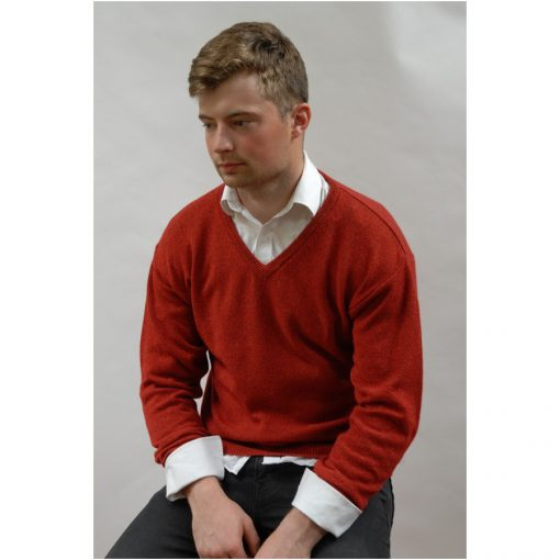 Stylish classic v neck sweater in fine lambswool silk blend. Red fleck color