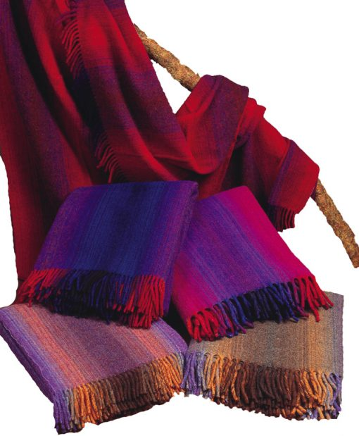 100% pure new wool blanket throws in spectrum colorways. Heavy weight made in Ireland