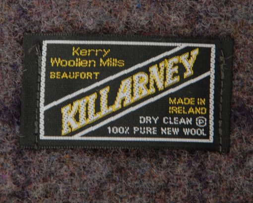 Killarney blanket and Throw label. made in Ireland and content 100% pure new wool