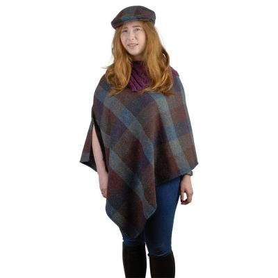 Killarney Tweed poncho-Autumn Check