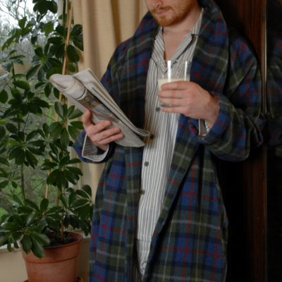 Lambswool dressing gown in Parkland Plaid, designed and made by Kerry Woollen Mills, Ireland
