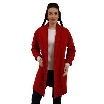Rib Edge Jacket with pockets in Cardinal red.