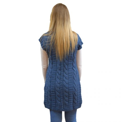 Above the knee long sleeveless coat aran knit coat with buckle feature