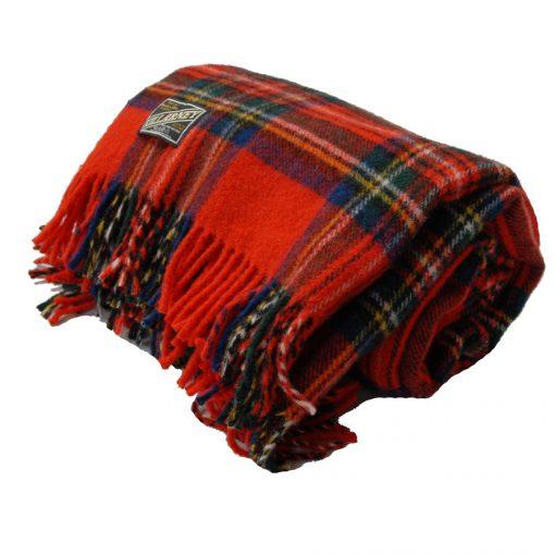 Killarney wool blanket throw Royal Stewart tartan