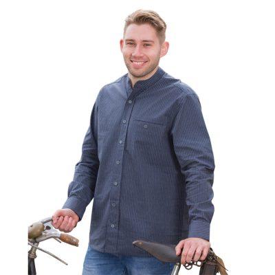 Traditional grandfather shirt Navy stripe FL18