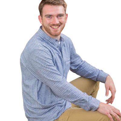 Traditional Irish collarless shirt Grey Stripe LV37
