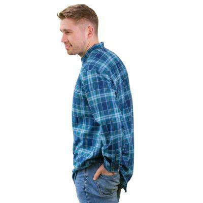 Traditional Irish collarless shirt LV8 Blue Check