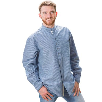 Traditional Irish collarless shirt VR25 Petrol stripe front