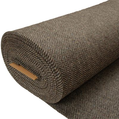 Tweed cloth herringbone GreyBrown 513B roll