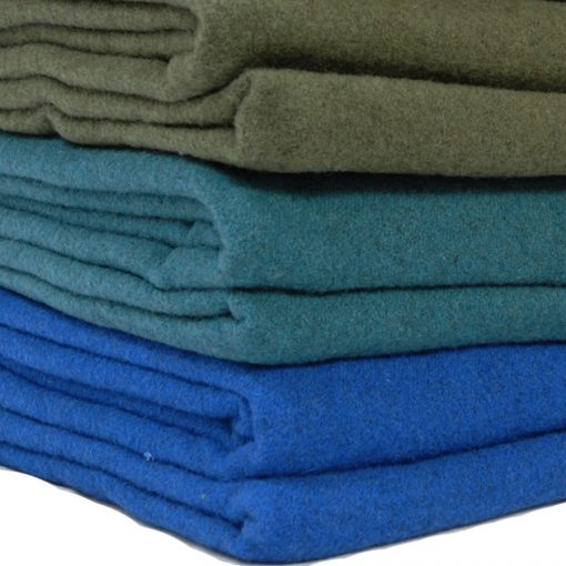 stack of 3 blankets, queen bed size , in royal blue, atlantic teal marl and forest green color.