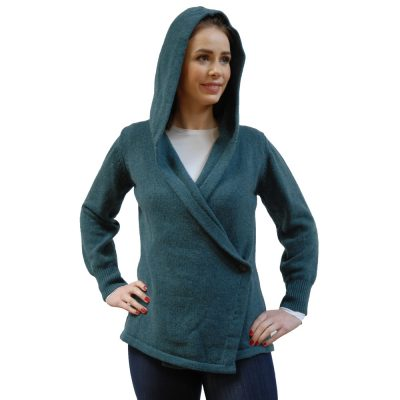 Soft Lambswool cardigan, Hooded wrap