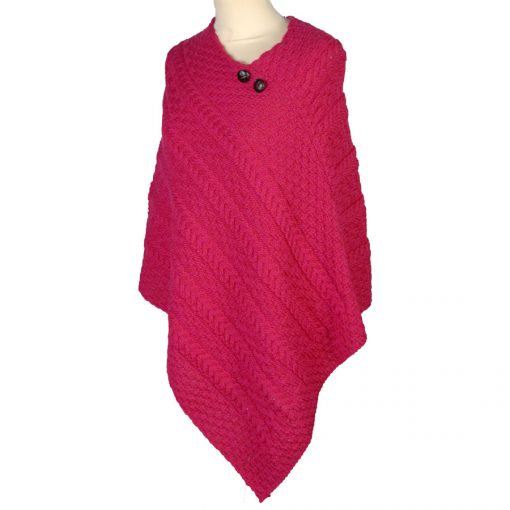 aran cable knit poncho Christmas Pink