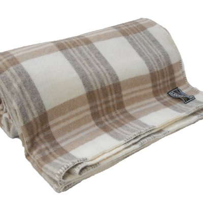 Blanket with brown, tan and cream check pattern