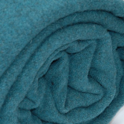 100% pure new wool blanket in Queen bed size. Atlantic teal marl color