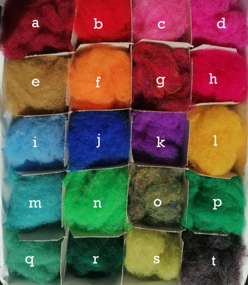 carded wool swatch with 20 colour options