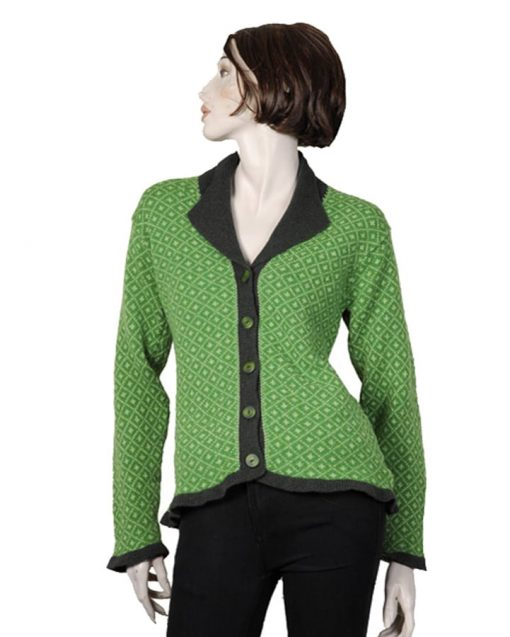 single breasted wool cardigan with collar and pattern
