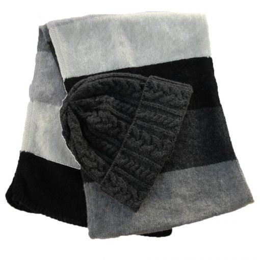 merino wool charcoal hat and matching Monochrome scarf .