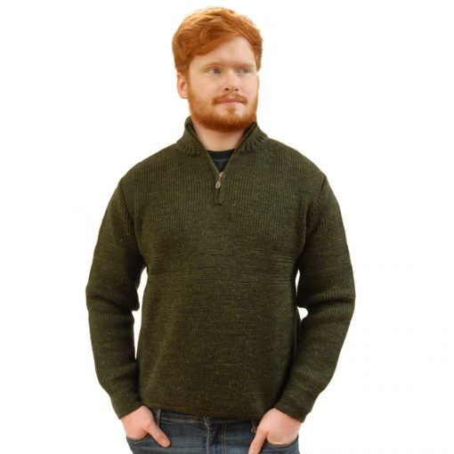country living wool sweater with quarter zip in moss green