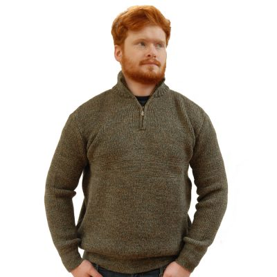 country living wool sweater with half zip in Derby Tweed