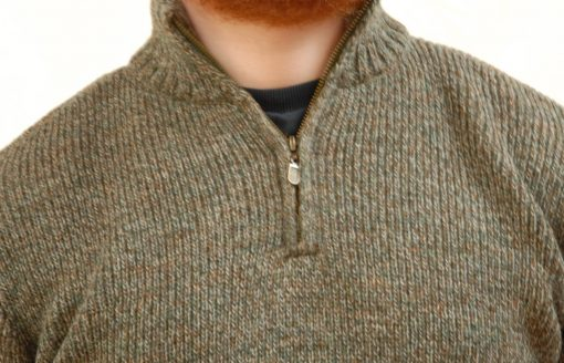country living wool sweater with half zip in Derby Tweed detail