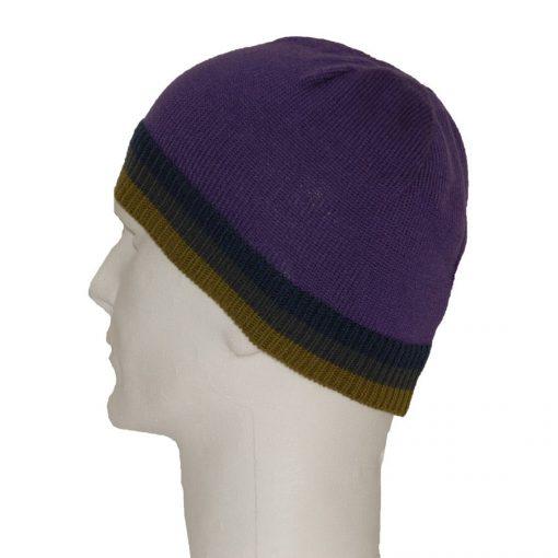 Purple men's wool beanie cap