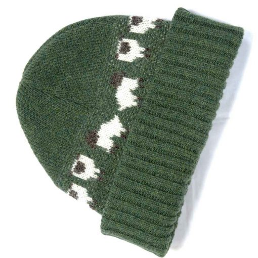 merino wool knit hat in moss green color with cute sheep motiff
