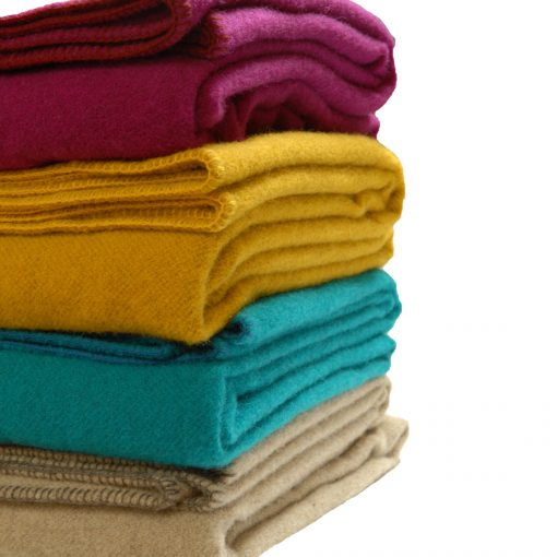 WOW bright coloured blankets to brighten & cheer you up. Buttercup yellow, fawn, Teal & Rich cerise
