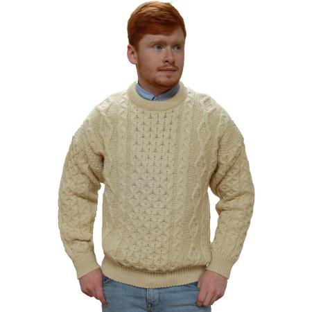 traditional aran cable knit crew neck sweater in natural white- Unisex