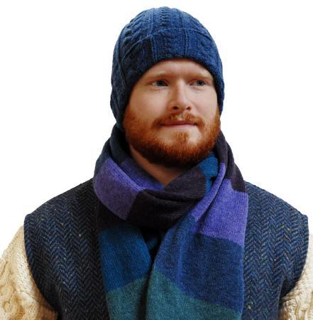 Denim beanie and matching atlantic blue scarf