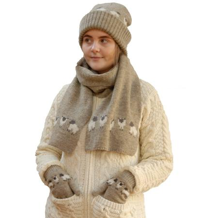 hat scarf and gloves with cute sheep motif knit with natural undyed jacob wool in oatmeal color