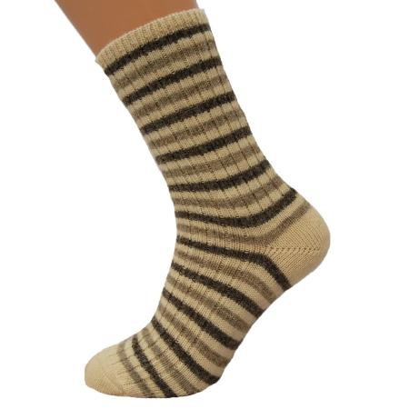 100% pure new wool socks knit from natural undyed Jacob sheep wool. Quirky striped pattern