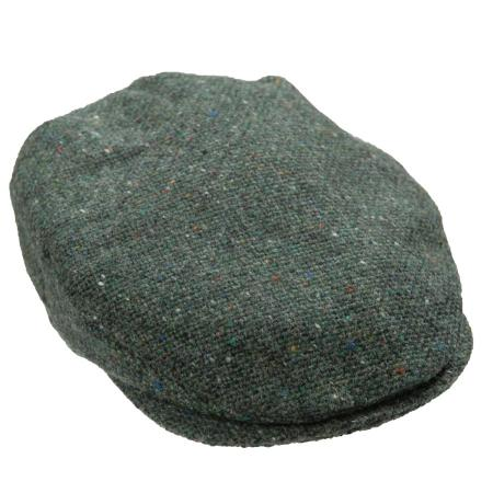 Donegal tweed woven flat cap in Green Fleck