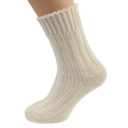 Superwash Merino wool socks in natural white colour, by Kerry Woollen Mills