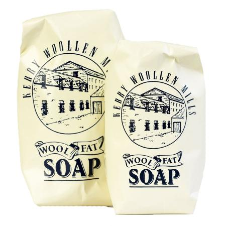 A large and a small bar of wrapped wool fat soap