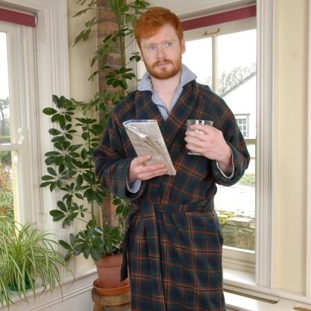 Natural soft lambswool Dressing Gown woven and made by Kerry Woollen Mills, Ireland. Available in Classic Kennedy tartan and Exclusive in-house designed Parkland Plaid.