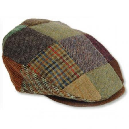 Flat cap made from patches of woven tweed